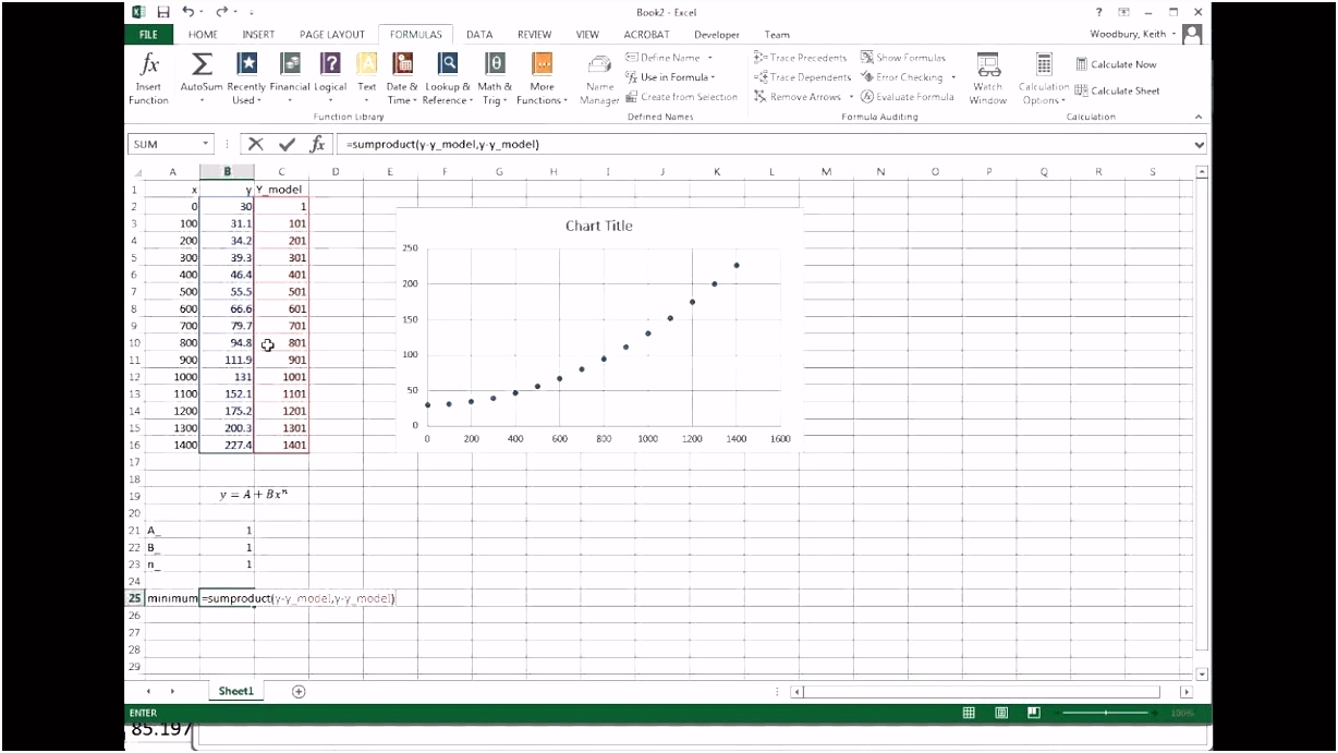 Power Law curve fit in Excel
