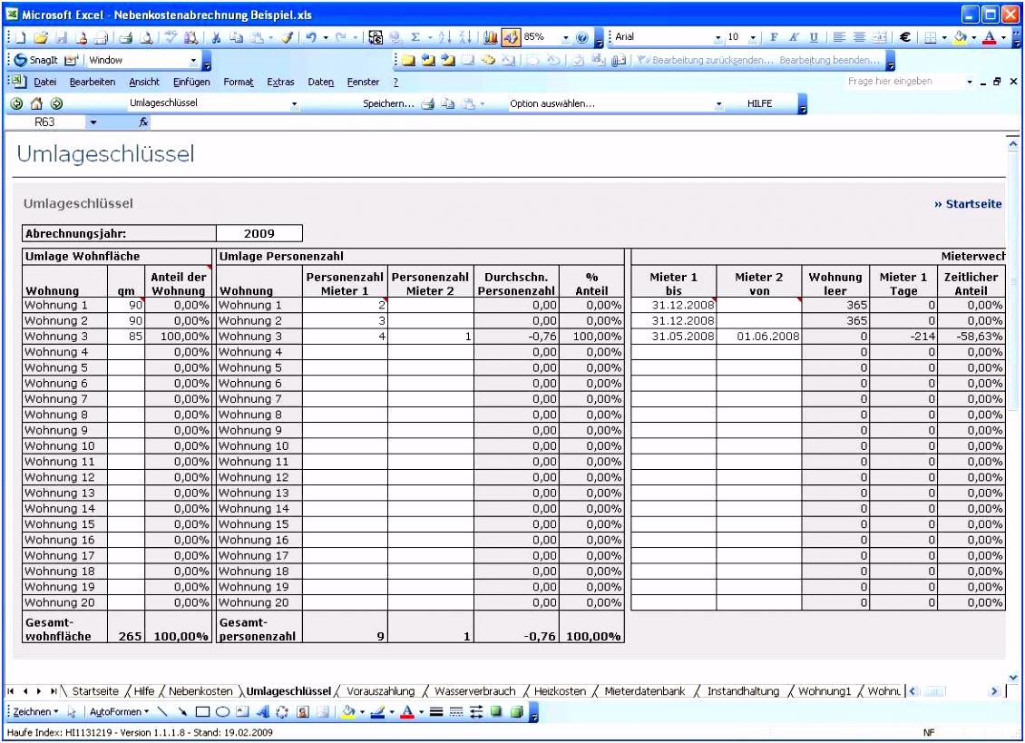 Nebenkostenabrechnung Muster Kostenlos Excel mit Different Vorlage