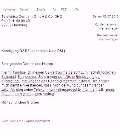 O2 Kündigungsschreiben Vorlage Beschreibung Vodafone Widerruf