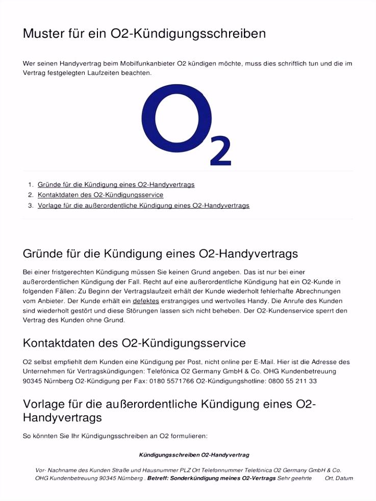 Kundigung Handyvertrag O2 handyvertrag kündigen o2 vorlage
