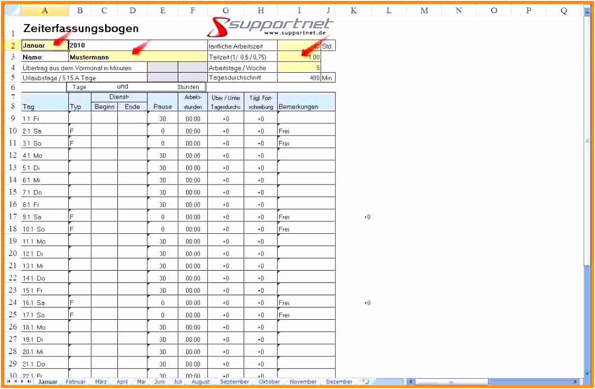 Neues Stundenzettel Vorlage Excel