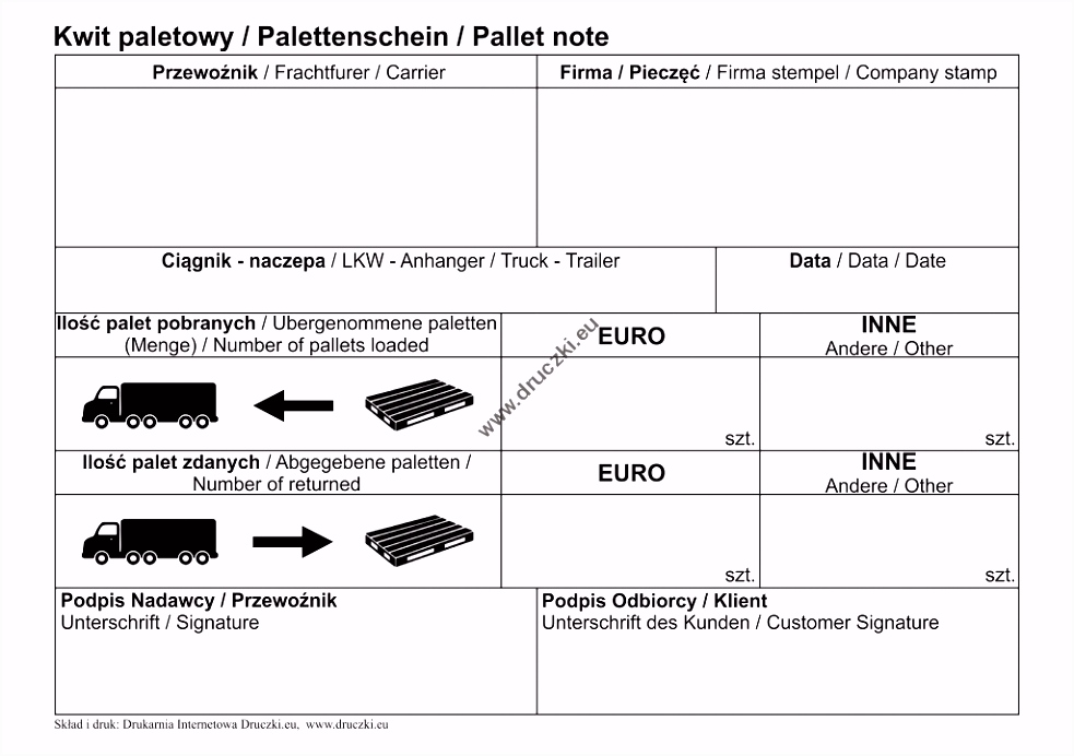 Kwit Paletowy Palettenschein Pallet note A5 Allegro