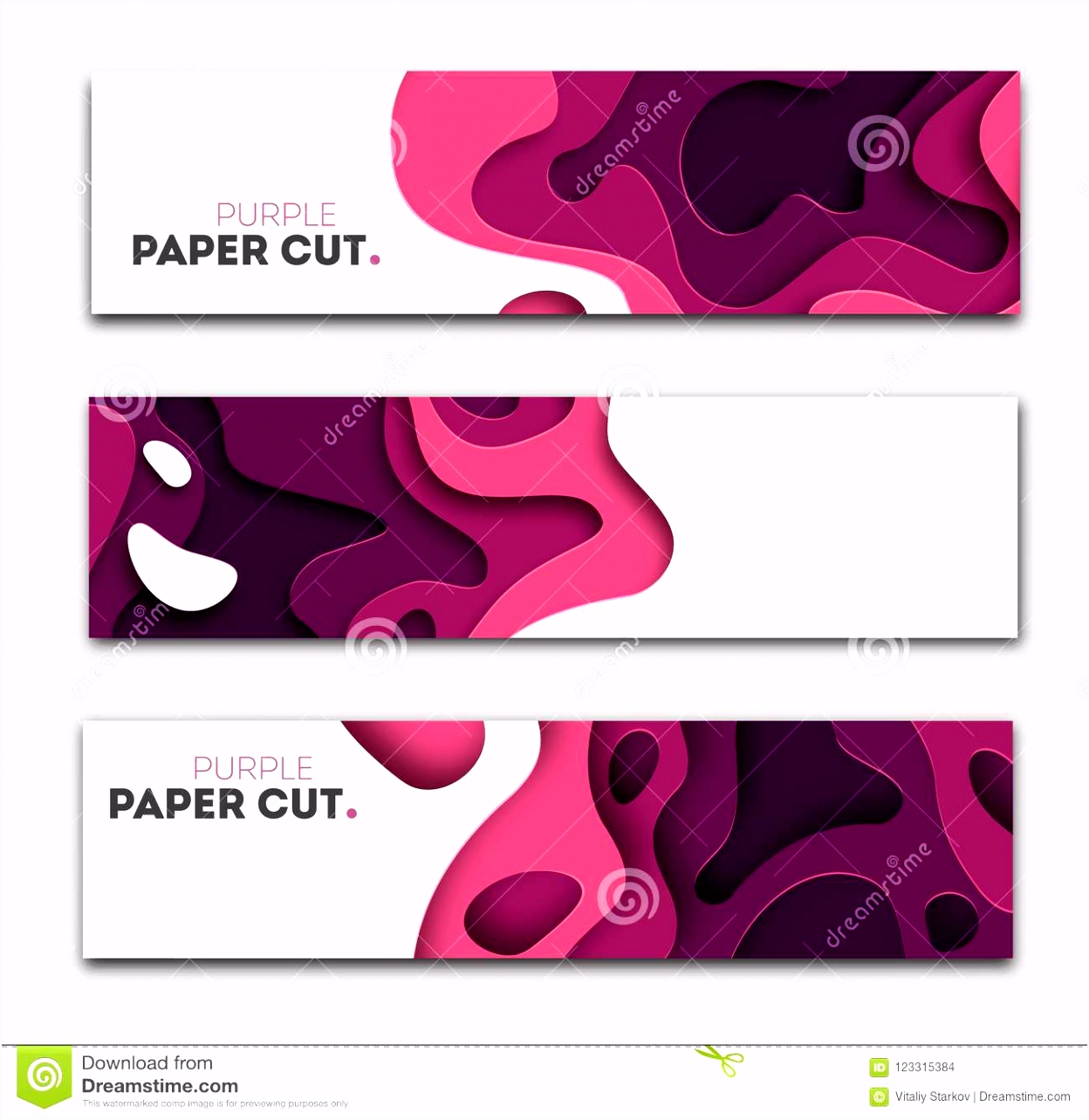Set Banner Templates With Paper Cut Shapes Bright Modern Abstract