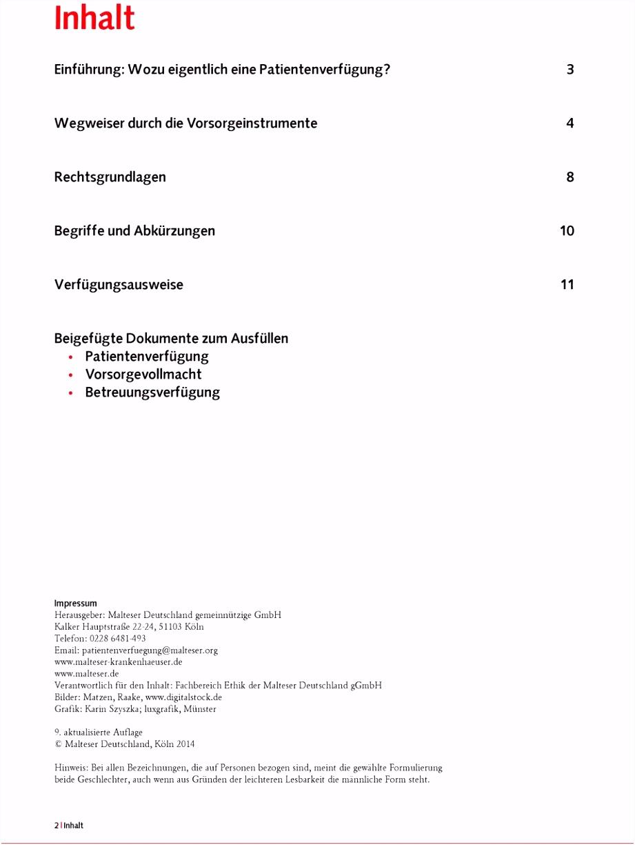 Malteser in Deutschland Patientenverfügung mit Vorsorgevollmacht