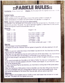 Here s a printable set of rules for playing Farkle
