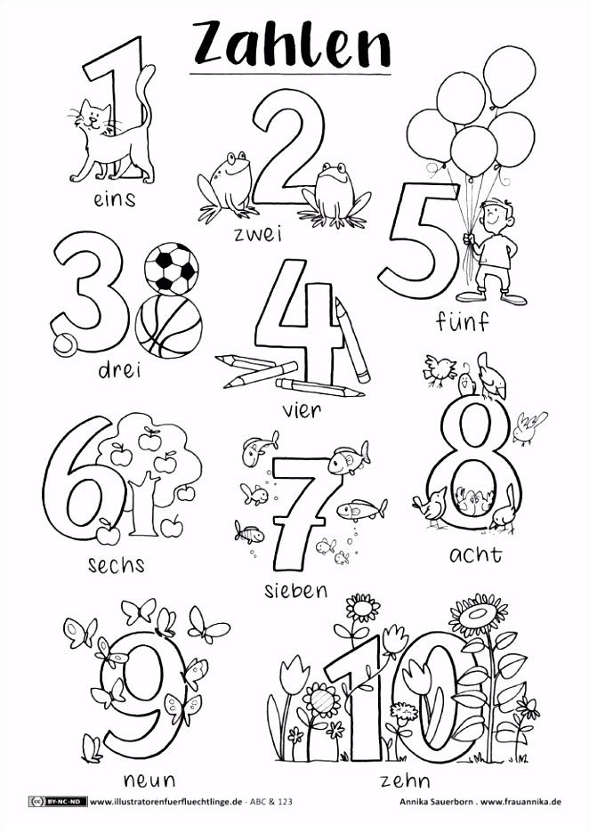 Malvorlage Zahlen von 1 10 A4 PDF Free Printable von Annika