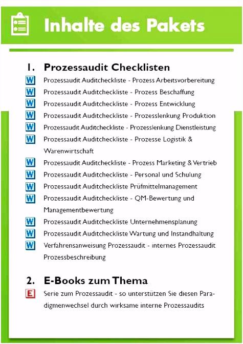 Prozessaudit Fragenkatalog Prozessaudit Checklisten Paket