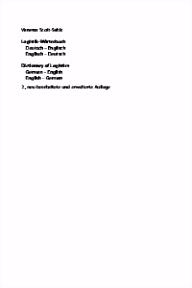 Logistik Wörterbuch Dictionary of Logistics Deutsch Englisch