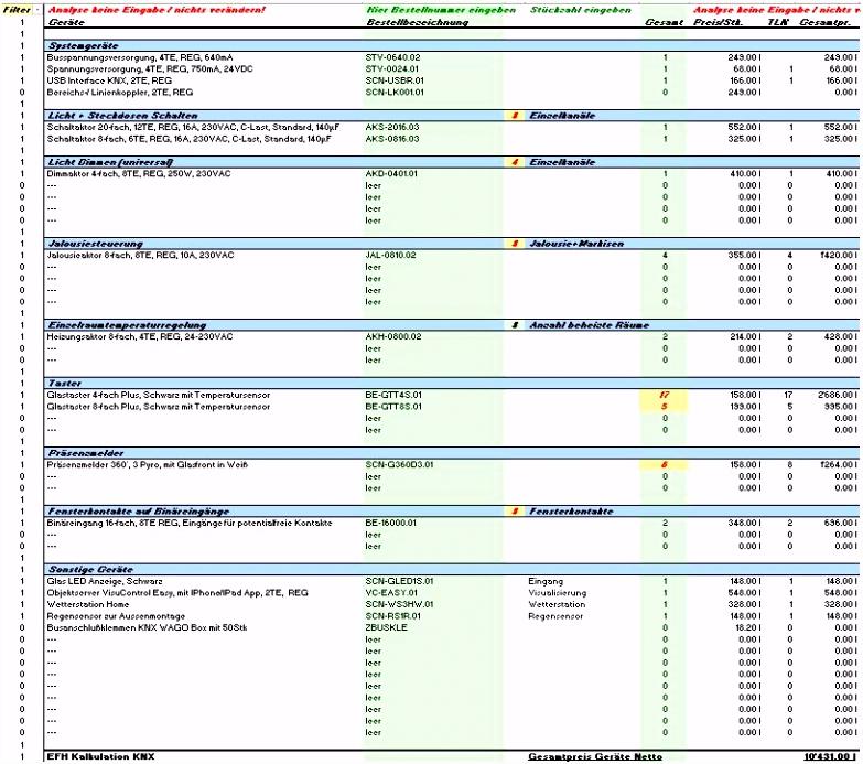 15 10 2014 – Was kostet mich KNX Kalkulationshilfe in Excel