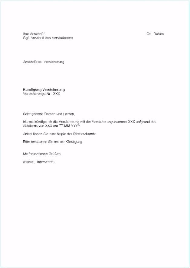 20 kündigung versicherung vorlage word