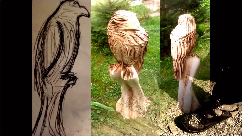 Adler schnitzen mit der Motorsäge oder Kettensäge chain saw wood