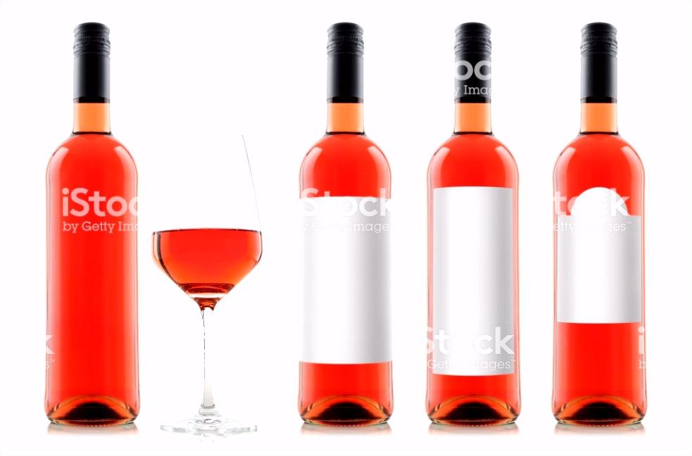 Mockup Von Rose Weinflaschen Mit Leere Weiße Etiketten Und Einem