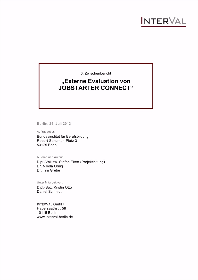 PDF Externe Evaluation von JOBSTARTER CONNECT 8 Zwischenbericht