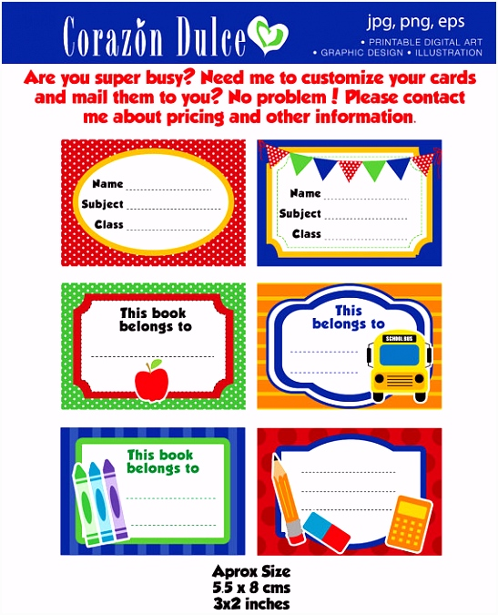 Back to School Labels Printable school labels tags book labels