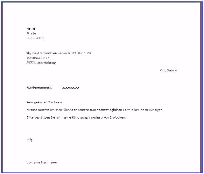 Kündigung Sky Vordruck Unglaubliche Unglaubliche 1&1 Kündigung Email