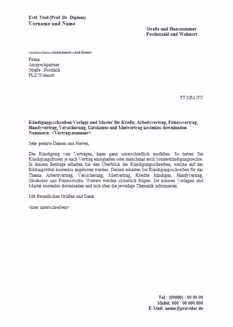 Einzigartiges Kabel Deutschland Kündigung Umzug Vorlage
