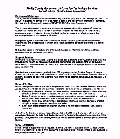 Internal Service Level Agreement Template And Points To Understand