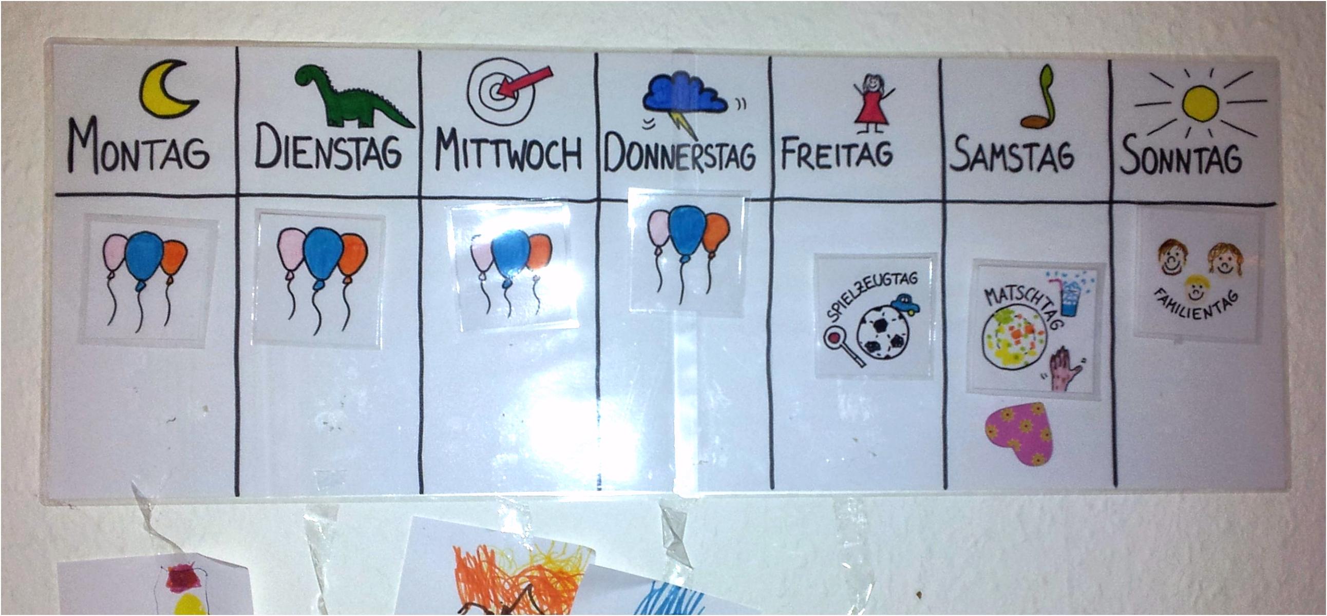 """Mama ist heute Spielzeugtag """" Wochenplan für Kindergartenkinder"""