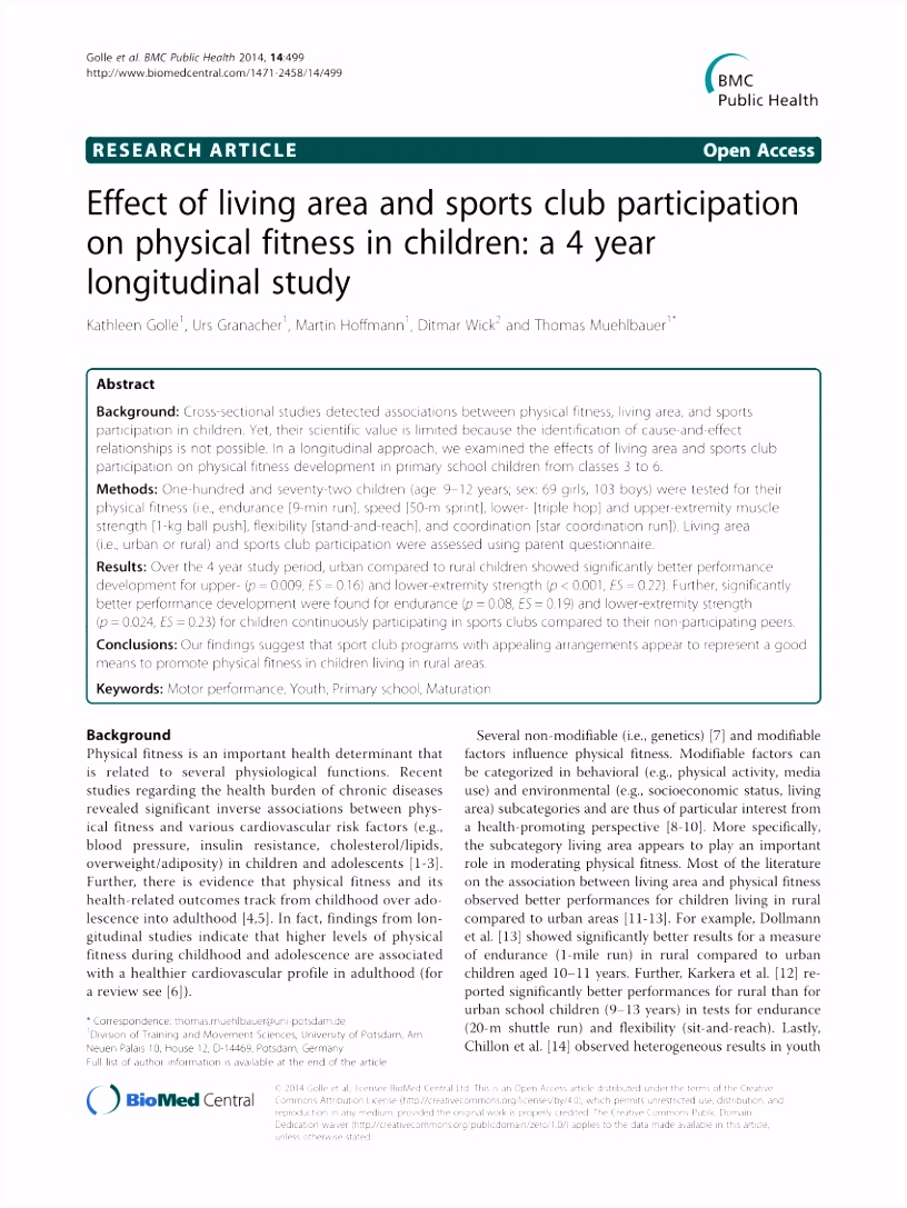 PDF Effect of living area and sports club participation on physical
