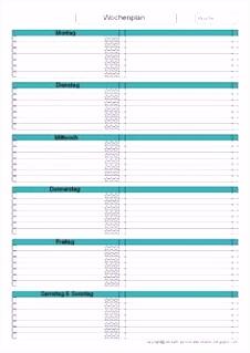 Unglaubliche Wochenplan Vorlage