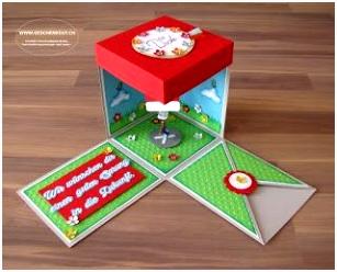 Geschenkbox überraschungsbox Explosionsbox Fallschirm Gleitschirm