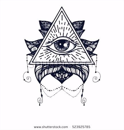 Vintage All Seeing Eye in Mandala Lotus Providence magic symbol for