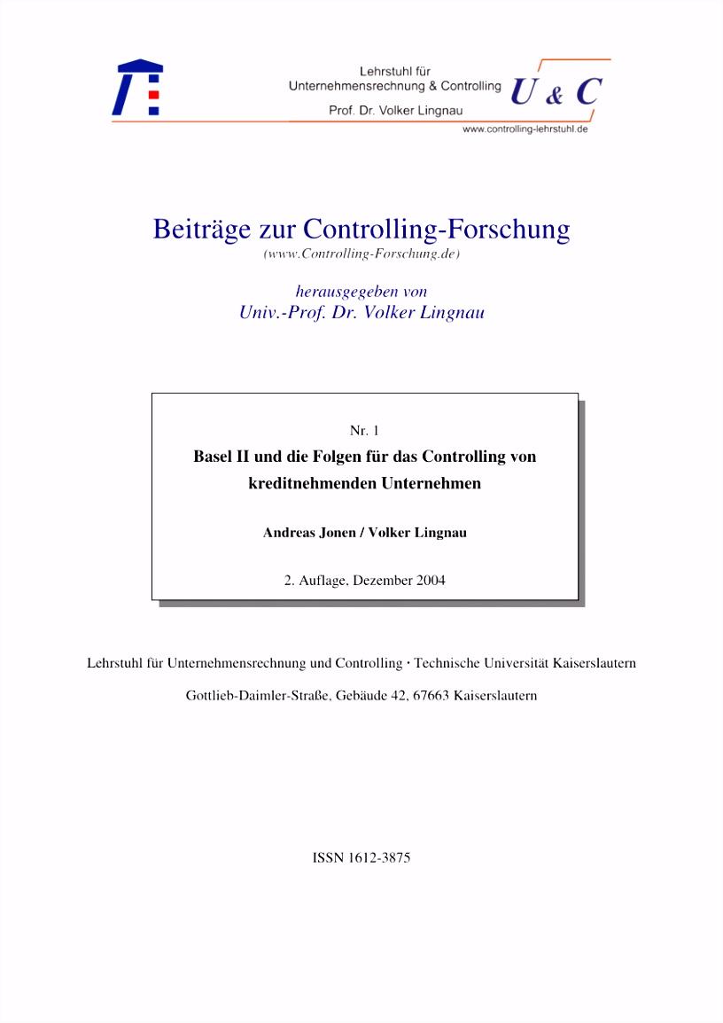 PDF Basel II und Folgen für das Controlling von kreditnehmenden