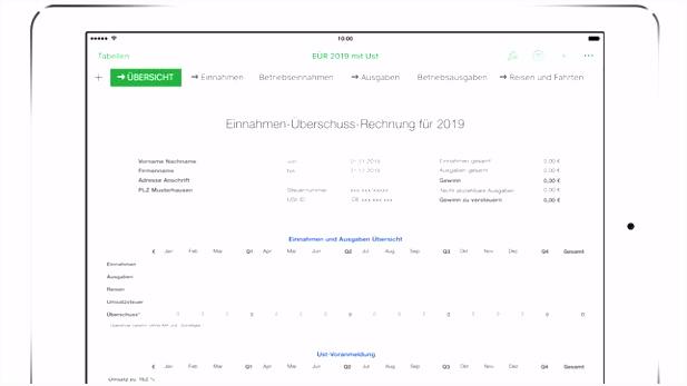 App Store EüR 2019 für Numbers