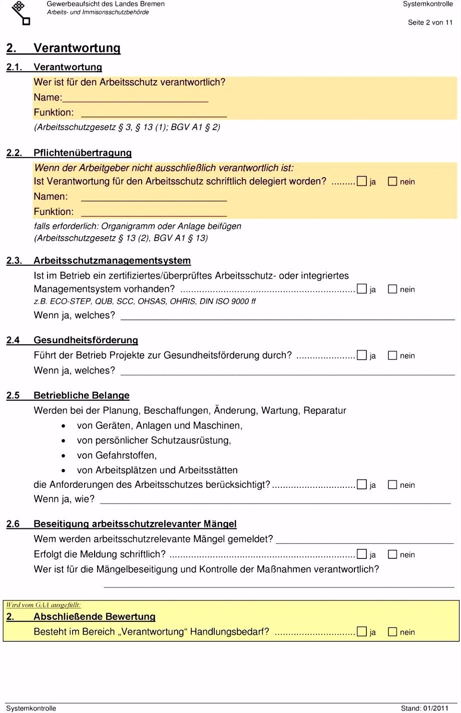 überprüfung der Arbeitsschutzorganisation Systemkontrolle 1