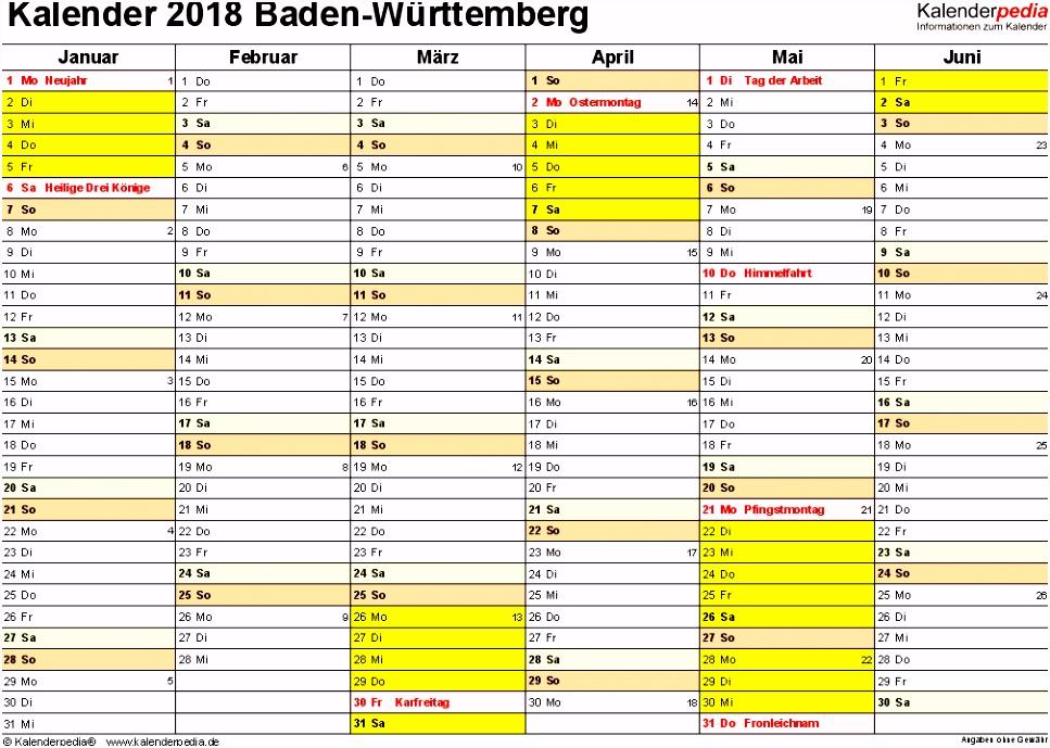 Kalender 2018 Baden Württemberg Ferien Feiertage Word Vorlagen