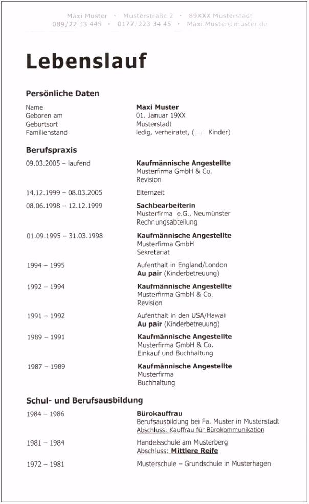 12 tabellarischer lebenslauf muster pdf