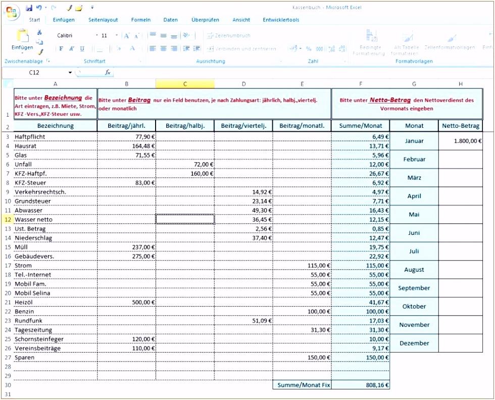 Excel Vorlage Haushaltsbuch