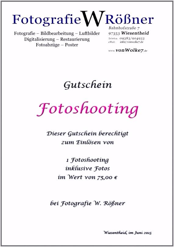 Genial Gutschein Fotoshooting Vorlage