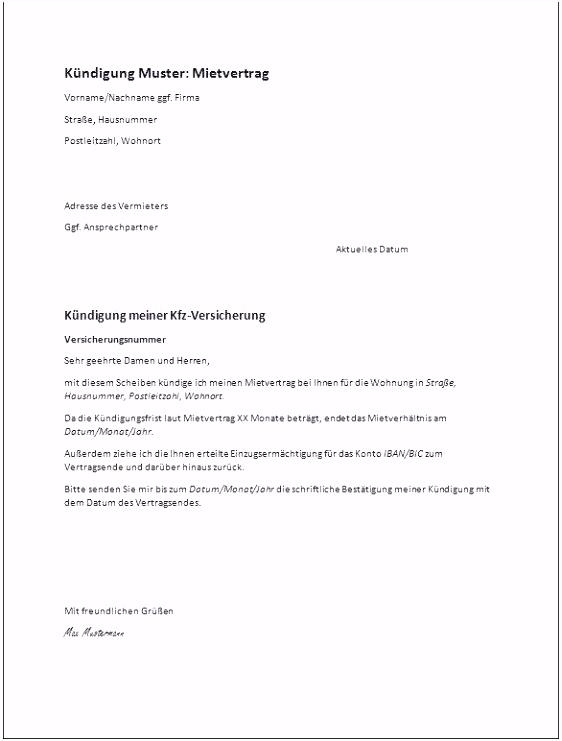 Kündigung Mietvertrag todesfall Musterbrief Neues Kündigung