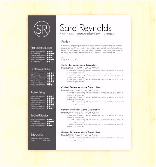 Hervatten sjabloon CV Template de Sara Reynolds CV ontwerp