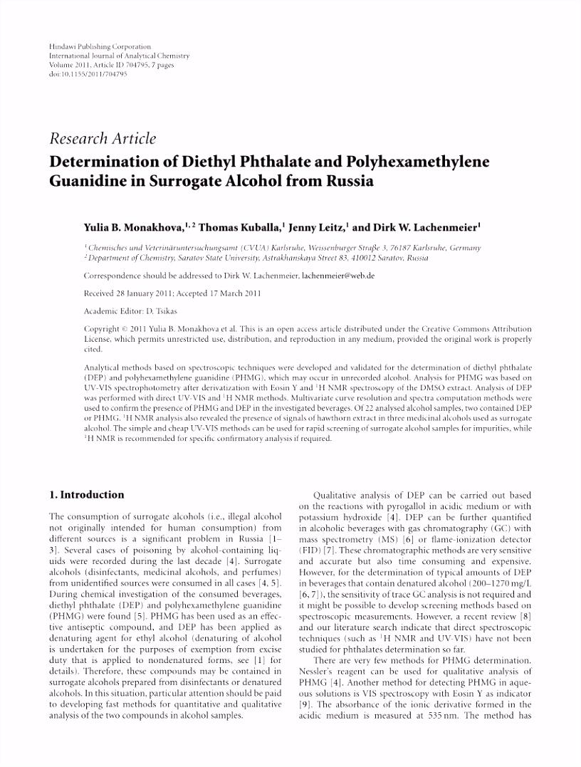PDF Determination of Diethyl Phthalate and Polyhexamethylene