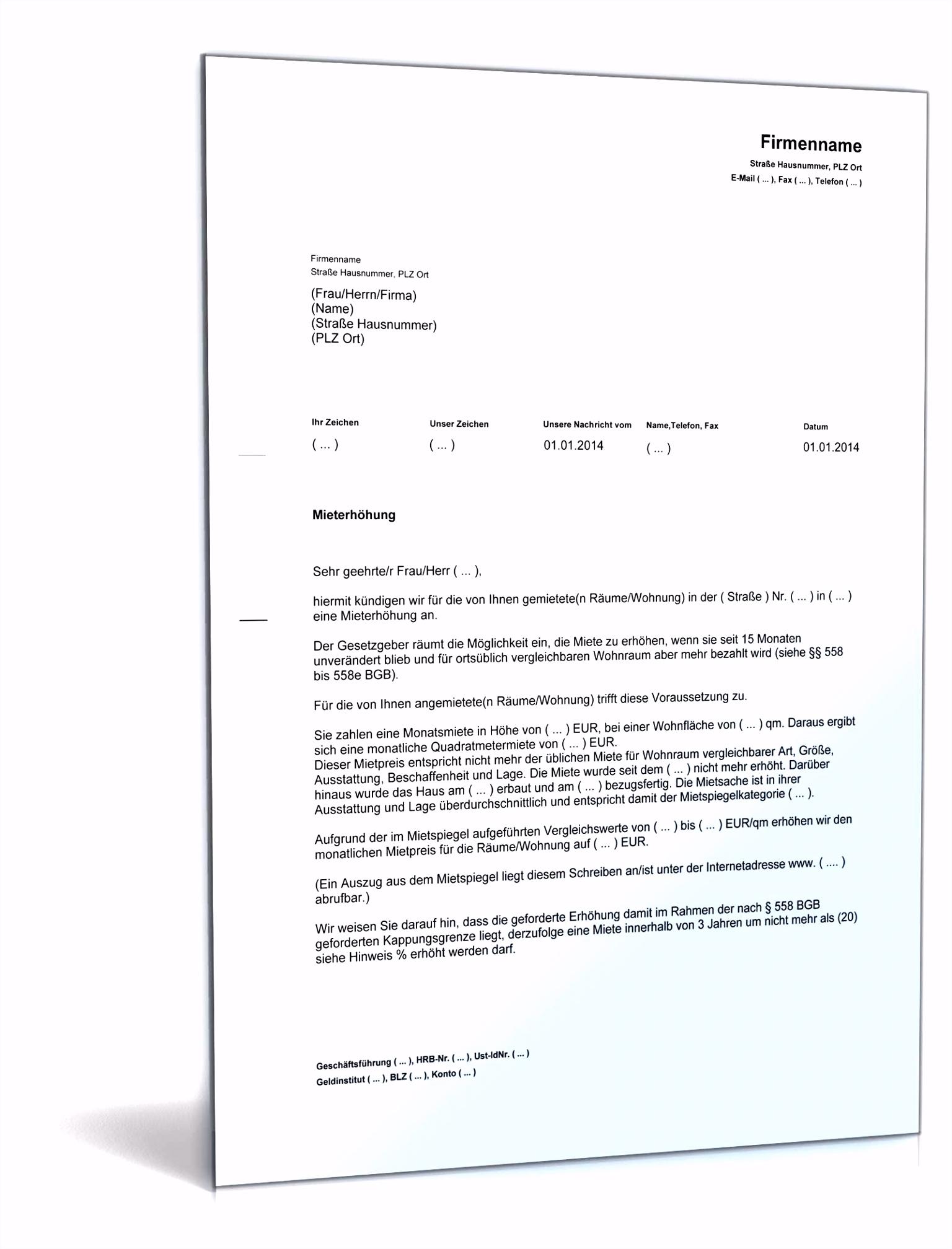 Vorlage Mieterhohung Mietspiegel Ankündigung Mieterhöhung Rechtssicheres Muster Zum Download K6wb87gxe2 Eswy4stgh6