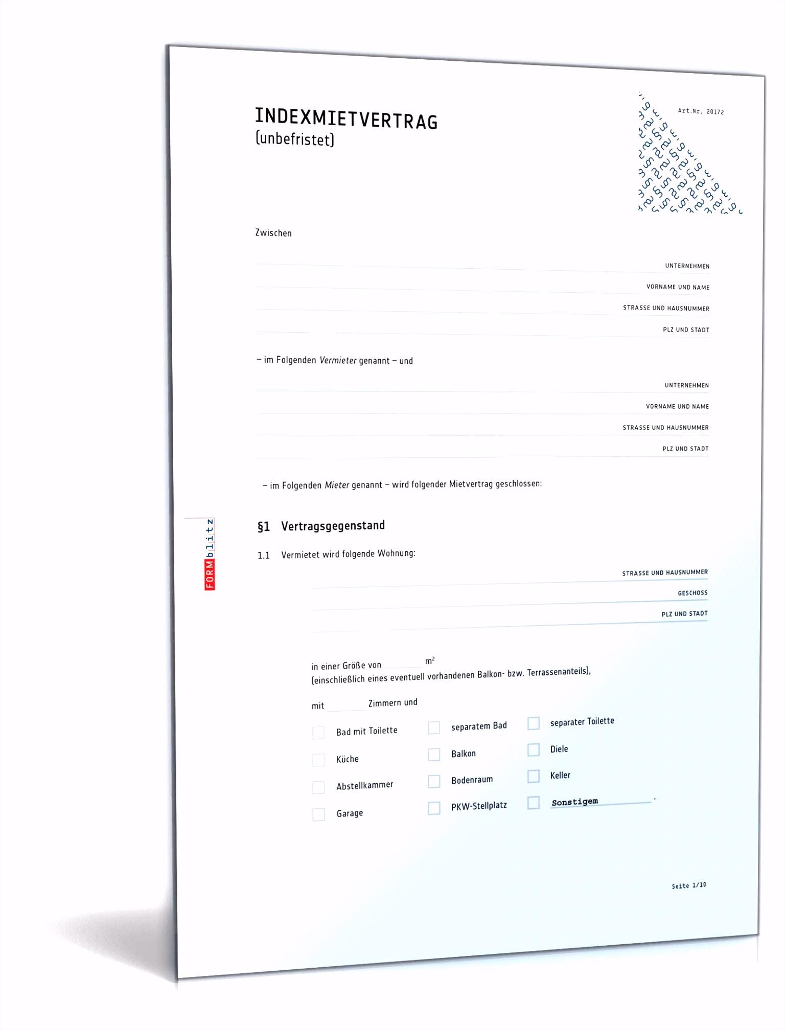 Indexmietvertrag Rechtssicheres Muster zum Download