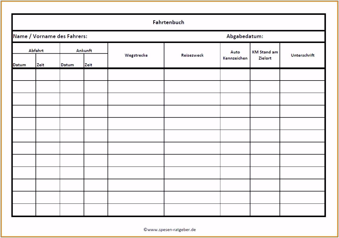 Muster Fahrtenbuch Excel