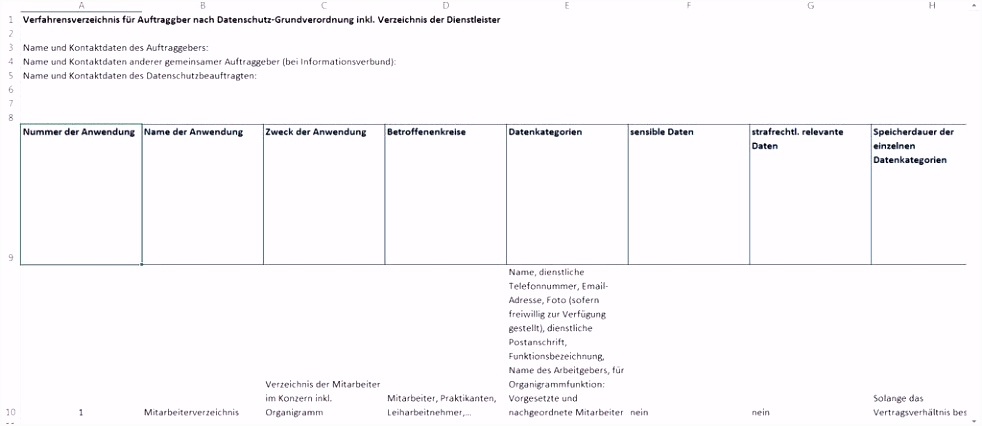 Neues Verfahrensverzeichnis Muster