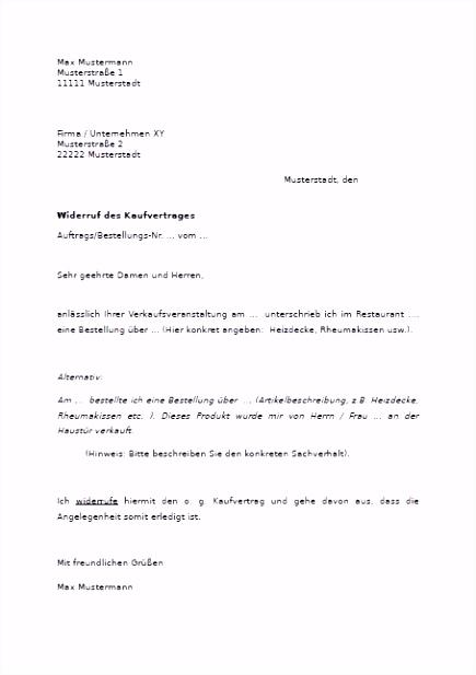 Frisches Vertrag Widerrufen Vorlage
