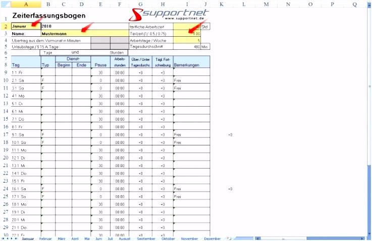Zeiterfassung Excel Vorlage Oder 01 Zeiterfassung Mit Excel Oder