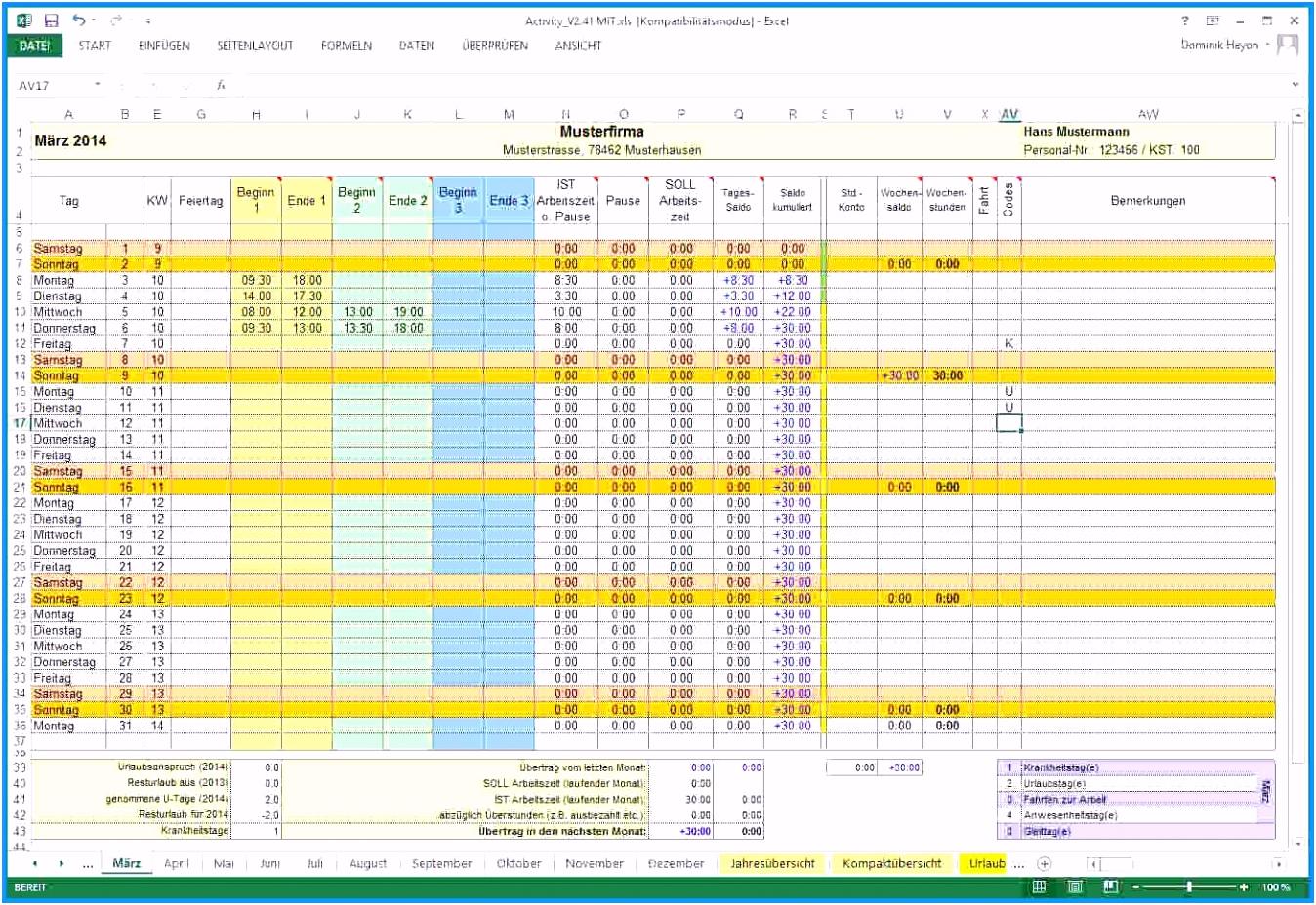 Stundenzettel Excel Vorlage Kostenlos 2016