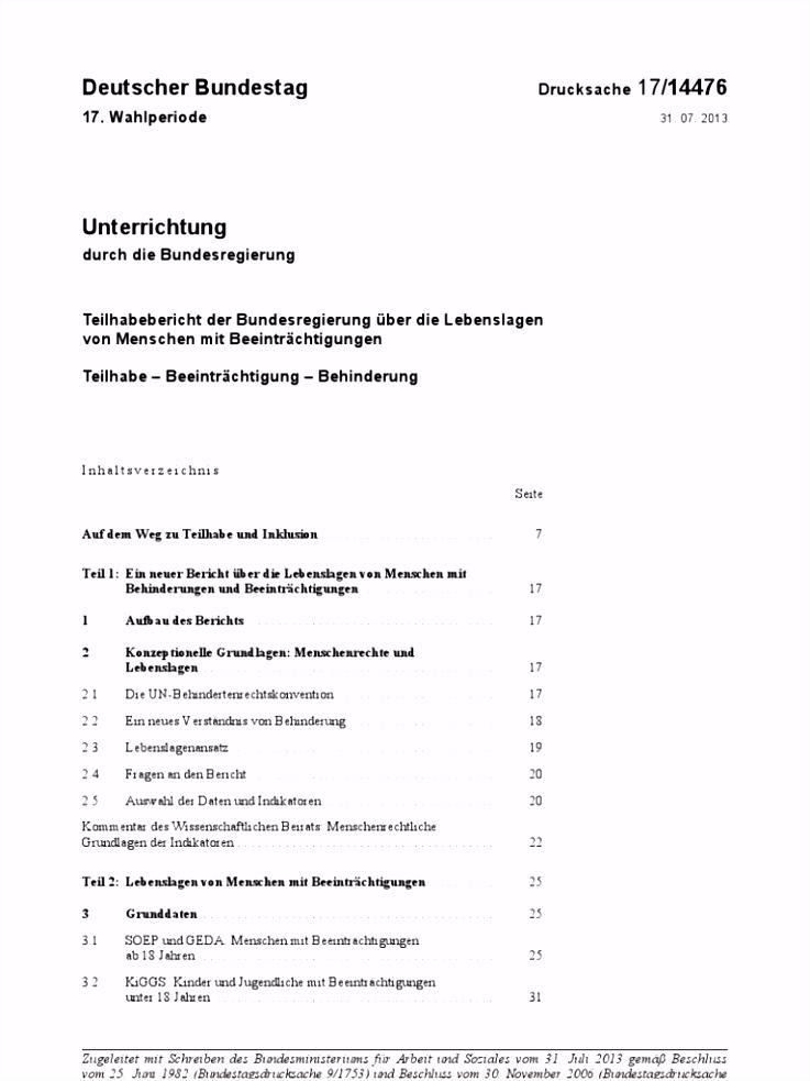 Bundestag Dr 17 Teilhabe Beinträchtung Behinderung