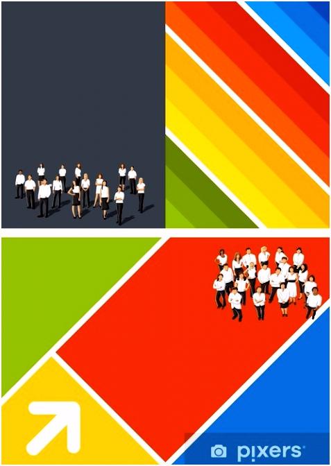 Fototapete Colorful Vorlage für Werbebroschüre mit Kaufleuten