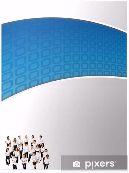 Poster Blau Vorlage für Werbebroschüre mit Kaufleuten • Pixers