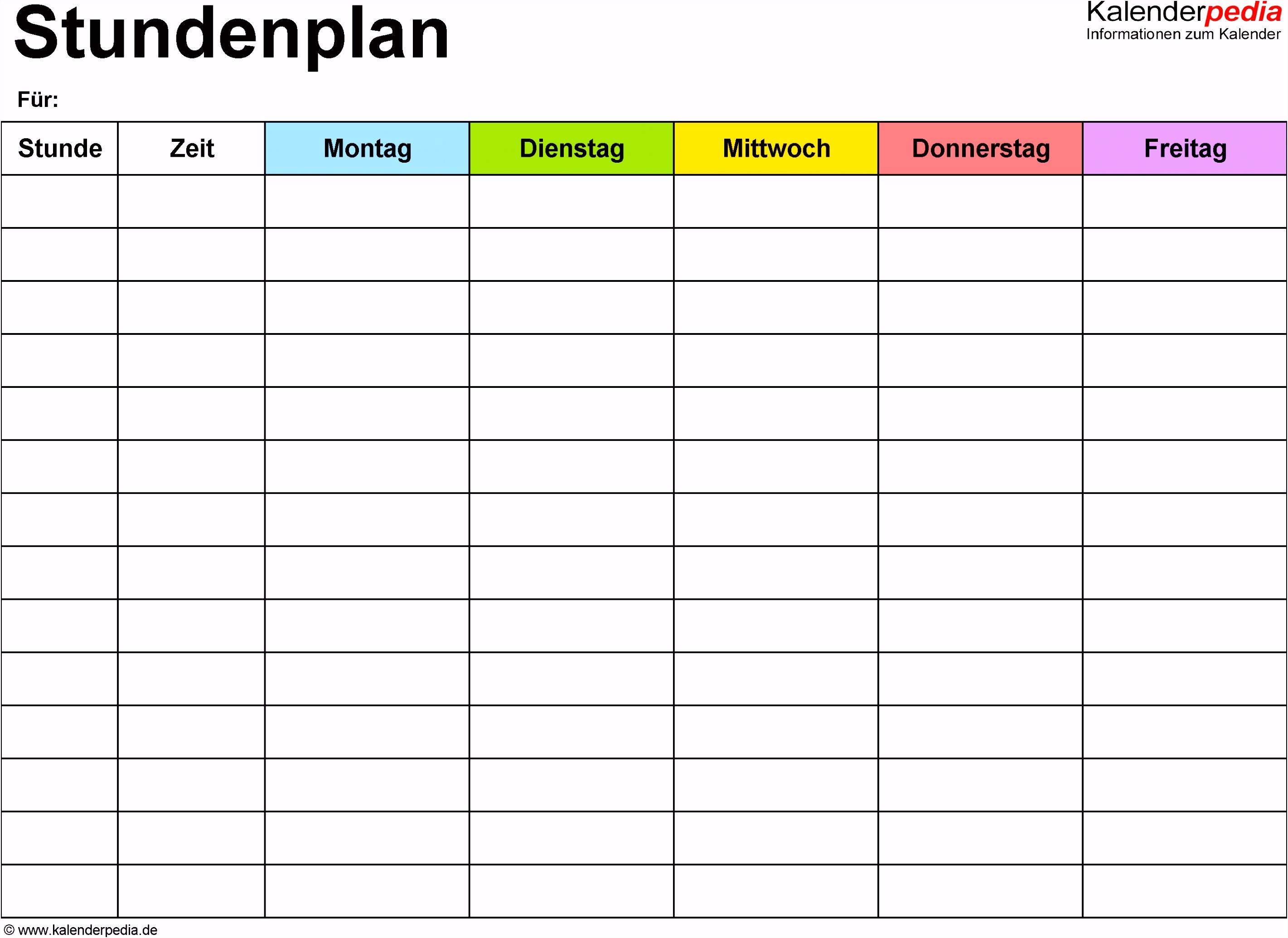 Vorlage 1 Excel Vorlage für Stundenplan Querformat DIN A4 1
