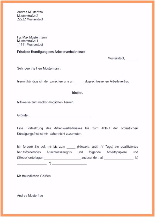 Kündigung Mietvertrag Vorlage Kostenlos Word