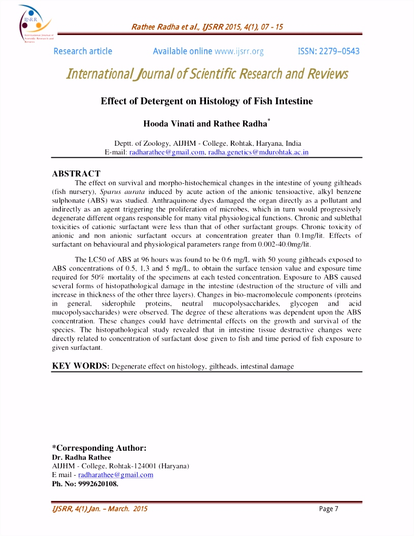 PDF International Journal of Scientific Research and Reviews Effect