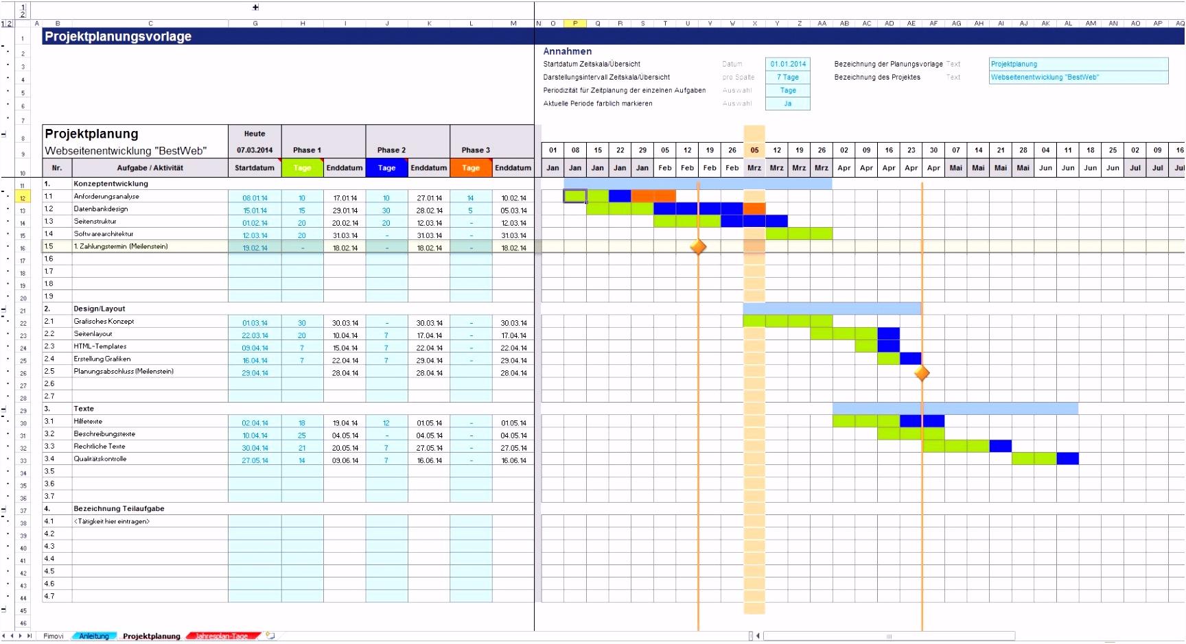 Frisches Zeitplan Excel Vorlage